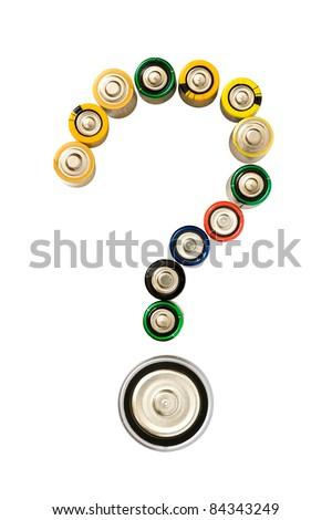 Question mark made from batteries isolated on the white background - stock photo