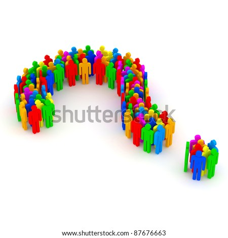 Question Mark made from colorful 3d people - stock photo