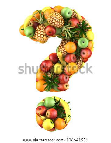 Question mark made from 3d fruits. Isolated on a white. - stock photo