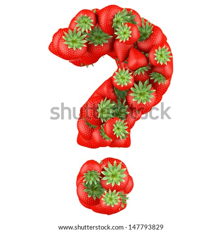 Question mark made from Strawberry. Isolated on a white. - stock photo