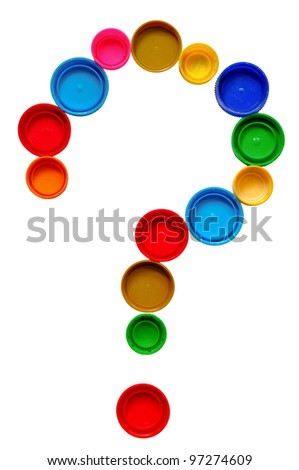 Question mark made of bottle cap - stock photo