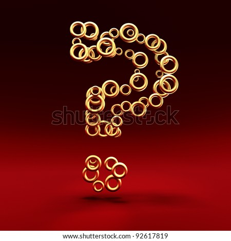 Question mark made of golden rings on the red background - stock photo