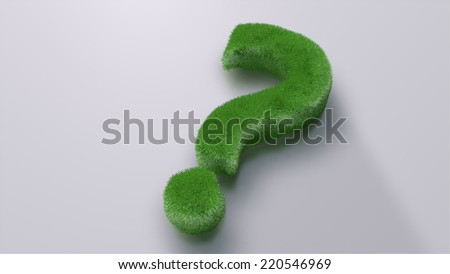 question mark made of grass on the light grey floor with shadows - stock photo