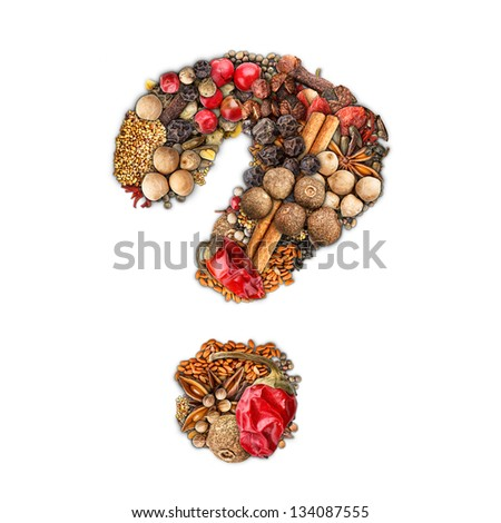 Question mark made of spices isolated on white background - stock photo