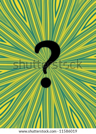 Question mark on funky yellow and green background - stock photo