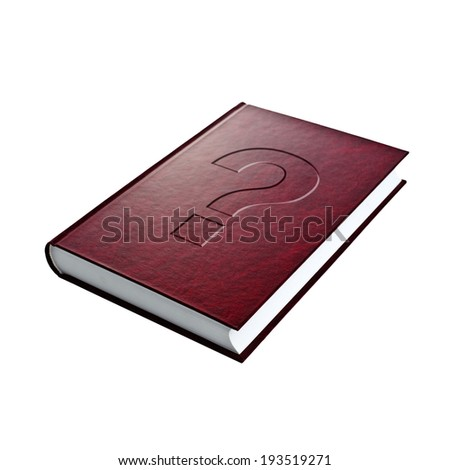 Question mark on hardcover book. Concept of questioning, looking for answers. - stock photo