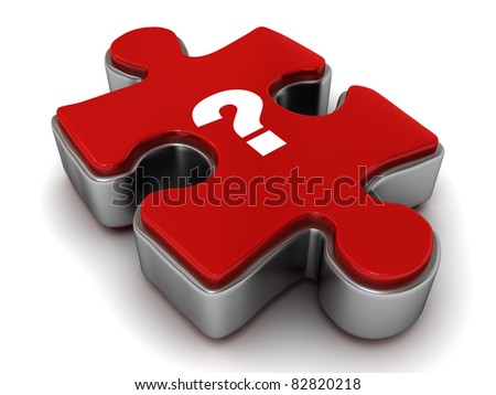 Question mark on jigsaw puzzle piece - stock photo
