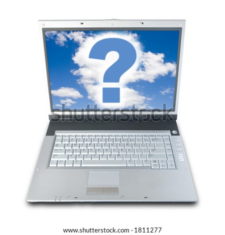 Question Mark On Laptop's Screen (clipping path included) - stock photo