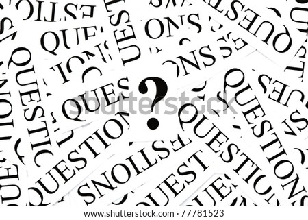 Question mark on many printed paper Questions. - stock photo