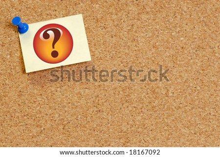 question mark on note pinned on cork board background - stock photo
