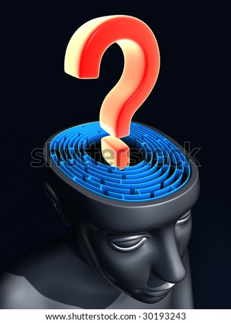 Question mark on the center of labyrinth inside the head. Concept of confused mind. - stock photo