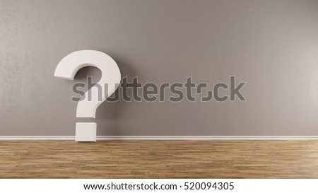 Question mark on wall as doubt concept (3D Rendering)