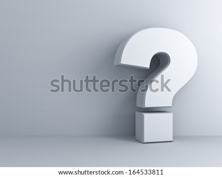 Question mark on white wall background - stock photo