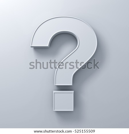 Question mark on white wall background abstract with shadow. 3D rendering.