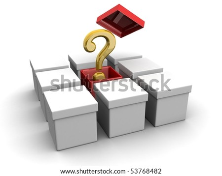 Question mark out from the red box creative concept 3d illustration - stock photo