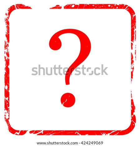 question mark, red rubber stamp with grunge edges - stock photo