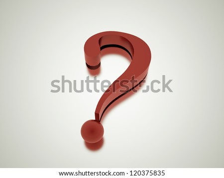 Question mark render with reflection - stock photo