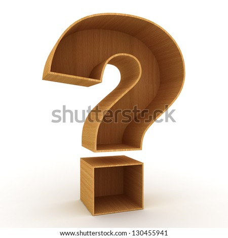 Question mark sign over white background - stock photo