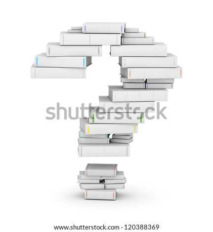 Question mark , stacked from many blank title books in column - stock photo