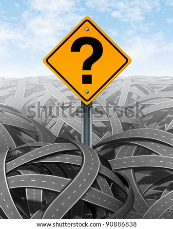 Question mark strategy in face of difficult problems searching for solutions and success with clear vision and answers to a new strategic plan to navigate and manage over a maze of roads and highways. - stock photo