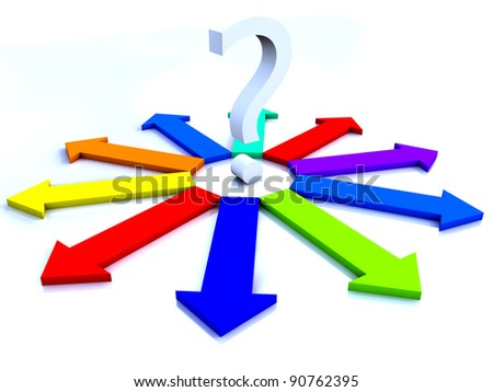 question mark surrounded by multicolor arrows