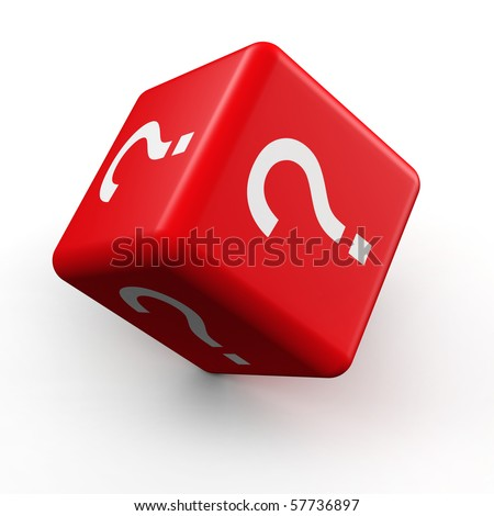 Question mark symbol dice rolling 3d illustration - stock photo