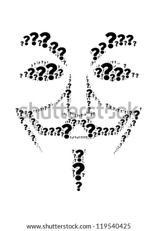 Question mark text collage Composed in the shape of anonymous - stock photo