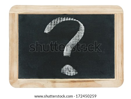 question mark - white chalk drawing on small blackboard isolated on white - stock photo