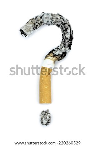 Question mark with burnt cigarettes. Conceptual image. - stock photo