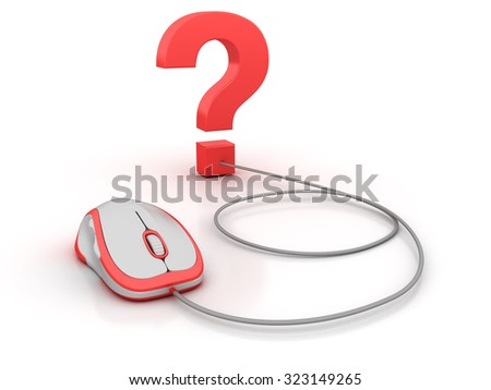 Question Mark with Computer Mouse. High Quality 3D Render