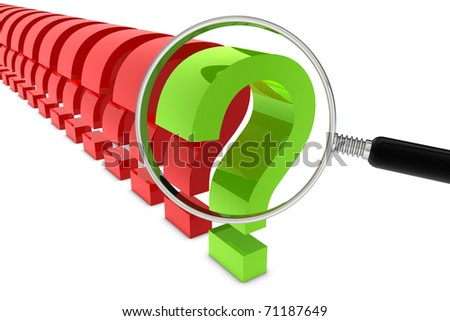 Question mark with magnifier on white background