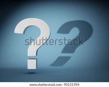 Question mark with shadow on blue background