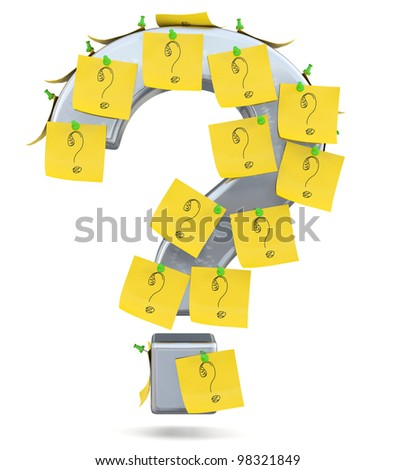 Question mark with sticky notes. 3D model - stock photo