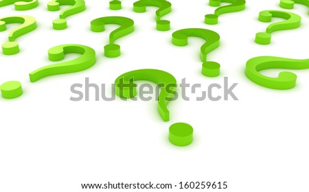 Question marks green on white background  - stock photo