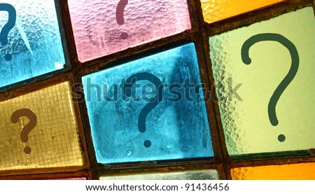 Question marks growing from small to big size; interrogation marks painted on stained-glass window - stock photo