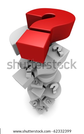 Question marks in a tall pile - stock photo