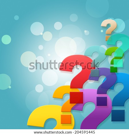 Question Marks Indicating Frequently Asked Questions And Blank Space - stock photo