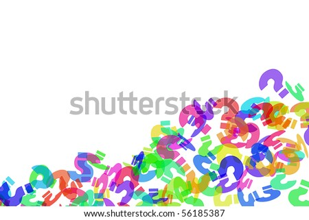 question marks of different colors drawn on a white background