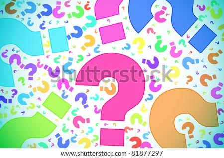 question marks of different colors drawn on a white background - stock photo