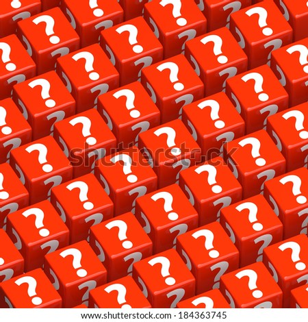 question marks on colorful toy blocks - stock photo