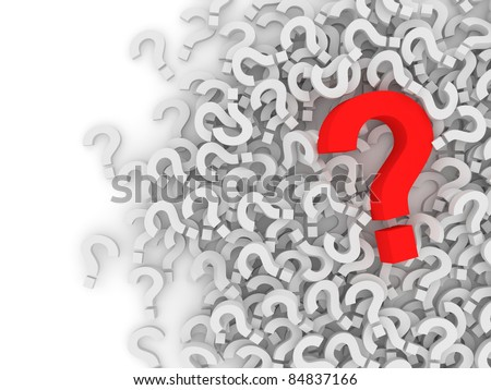 Question Marks on white background with place for your text - stock photo