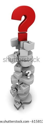 Question Marks Piling Up - stock photo