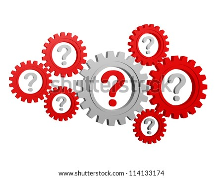 question-marks - red and grey signs in gearwheels