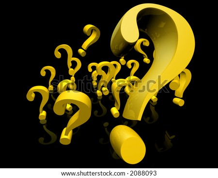 Question Marks Sign Flying - stock photo