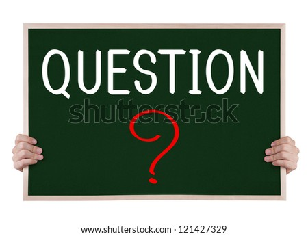 question on blackboard with hands - stock photo