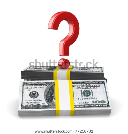 question on pack of dollars. Isolated 3D image - stock photo