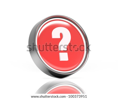 Question or help icon. Computer render with clipping path for button and reflection - stock photo
