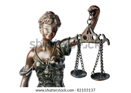 Question or Justice concept - closeup of a sculpture of Themis, mythological Greek goddess, symbol of justice, blind and holding empty balance in her hand, isolated on white background - stock photo