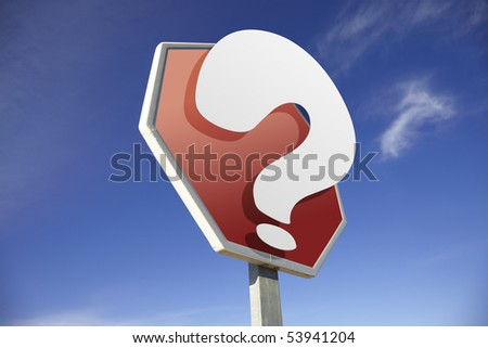 Question road sign - stock photo