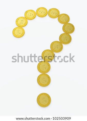 Question sign made of golden coins on white background